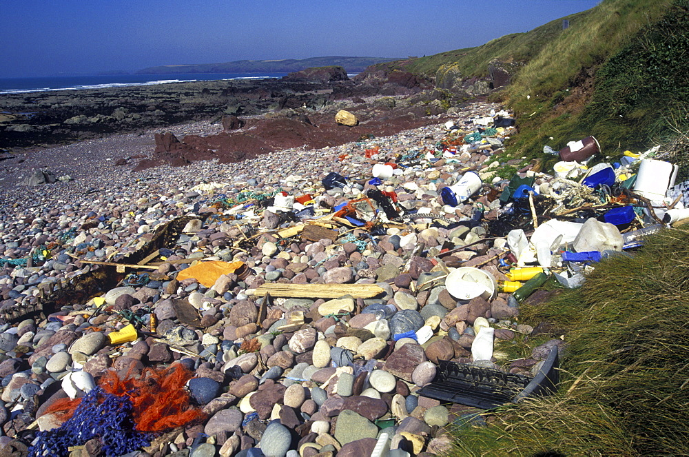 Litter washed up on Freshwater West, Pembrokeshire      (rr)