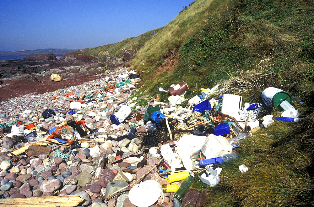 Litter washed up on Freshwater West, Pembrokeshire