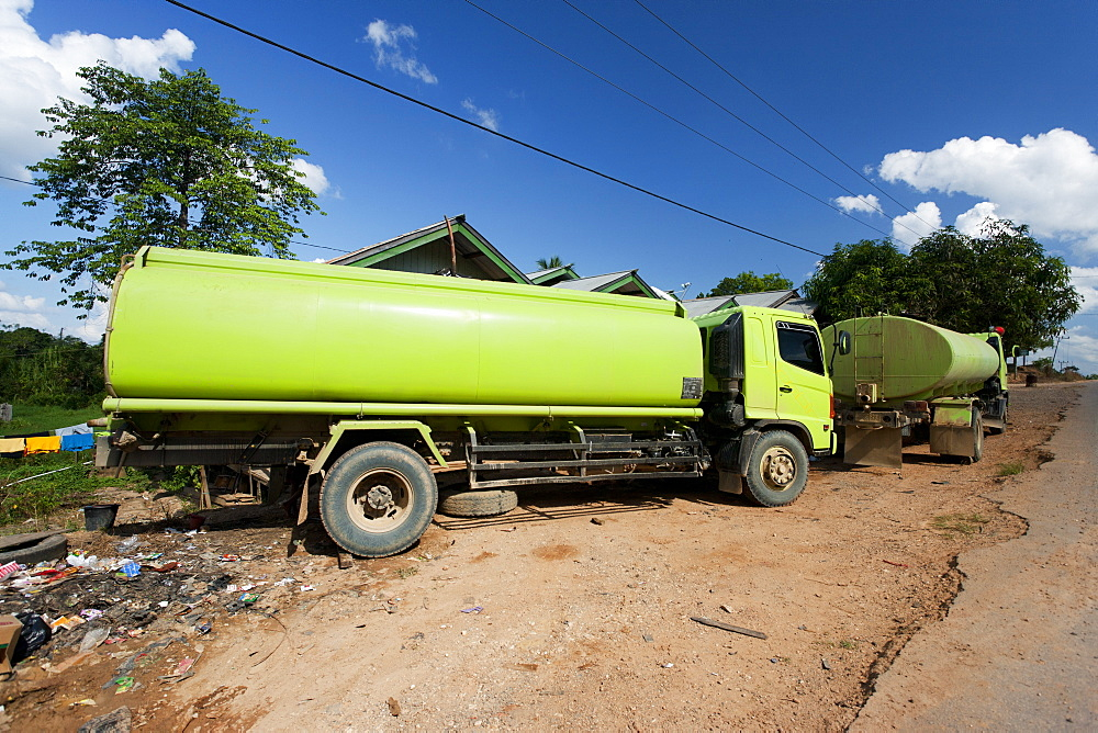 Tanks for transport of palm oil, East Kutai Regency, East Kalimantan, Borneo, Indonesia, Southeast Asia, Asia