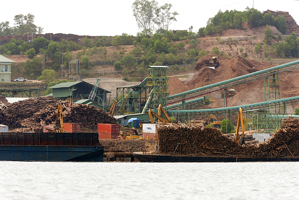 Sawmill in Balikpapan Bay, East Kalimantan, Borneo, Indonesia, Southeast Asia, Asia - 918-4