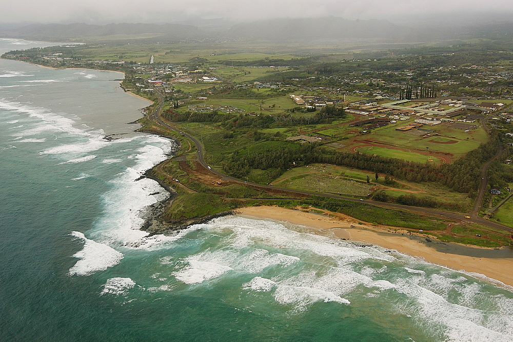 Aerial view of Kauai's northern coastline, Kauai, Hawaii, United States of America, Pacific - 920-145