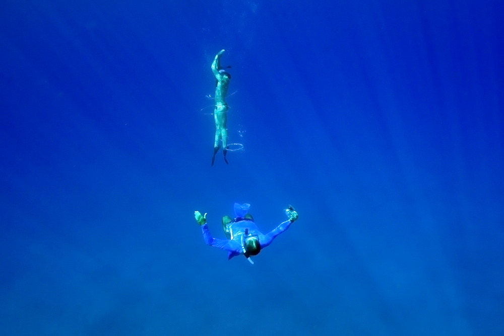 Snorkeller swims through bubble ring, Big Island, Hawaii, United States of America, Pacific