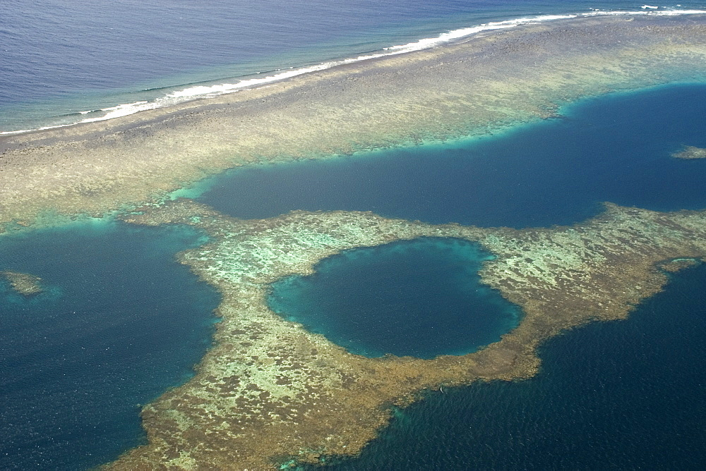 Atoll formation with barrier reef, Chuuk, Federated States of Micronesia, Caroline Islands, Micronesia, Pacific Ocean, Pacific