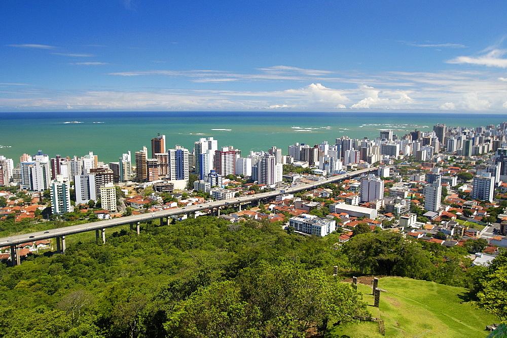 Panoramic view of Vila Velha, with Third Bridge and its emerald sea, Espirito Santo, southeast Brazil, South America