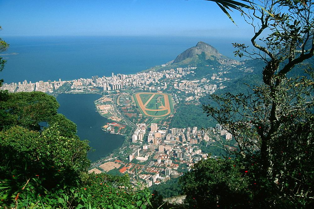 View of Rodrigo de Freitas lagoon, jockey club and Ipanema, Rio de Janeiro, Brazil, South America
