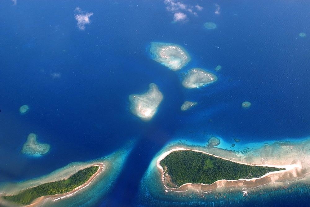 Aerial view of atoll, Kuwajelein, Marshall Islands, Micronesia, Pacific