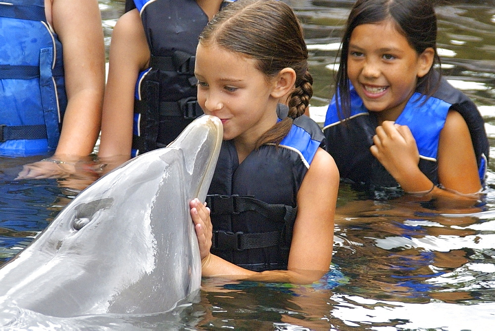 Girl kissing a bottlenose dolphin (Tursiops truncatus), Oahu, Hawaii, United States of America, Pacific - 920-2117