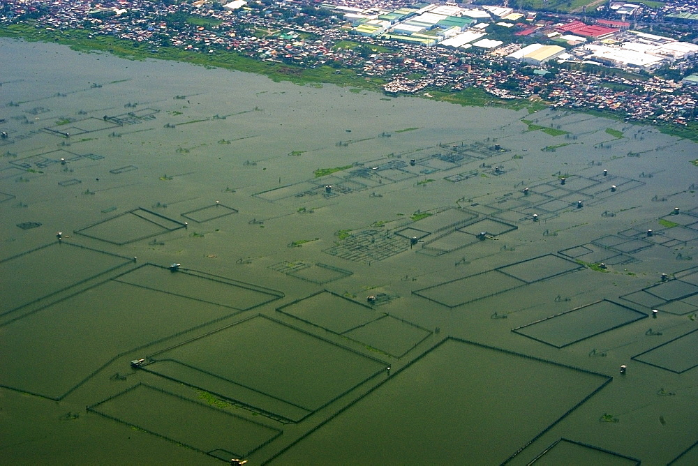 Aerial view of aquaculture facilities next to Manila, Philippines, Southeast Asia, Asia