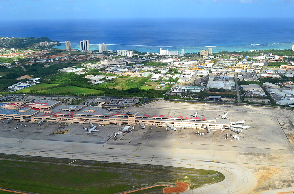 Aerial view of airport terminal and Tumon Bay, Guam, Pacific