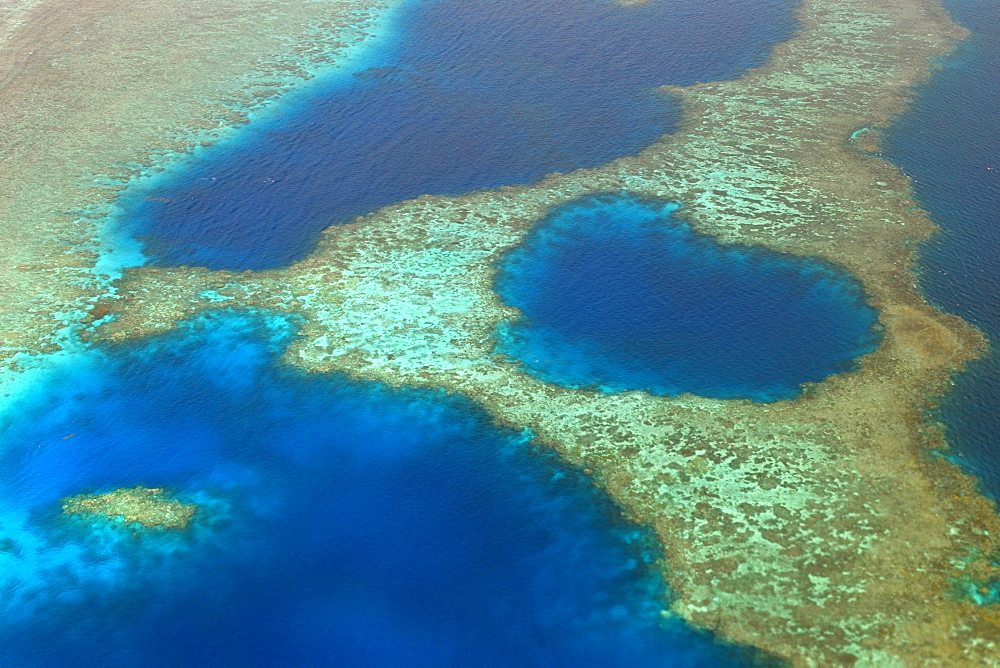 Aerial view of coral reef formation in the shape of a heart, Chuuk, Federated States of Micronesia, Caroline Islands, Micronesia, Pacific Ocean, Pacific