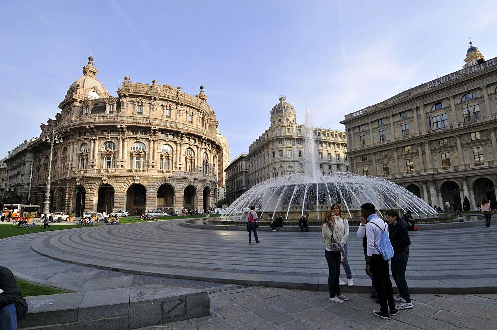 Fountain of Piazza di Ferrari and downtown historical buildings, Genova, Liguria, Italy, Europe