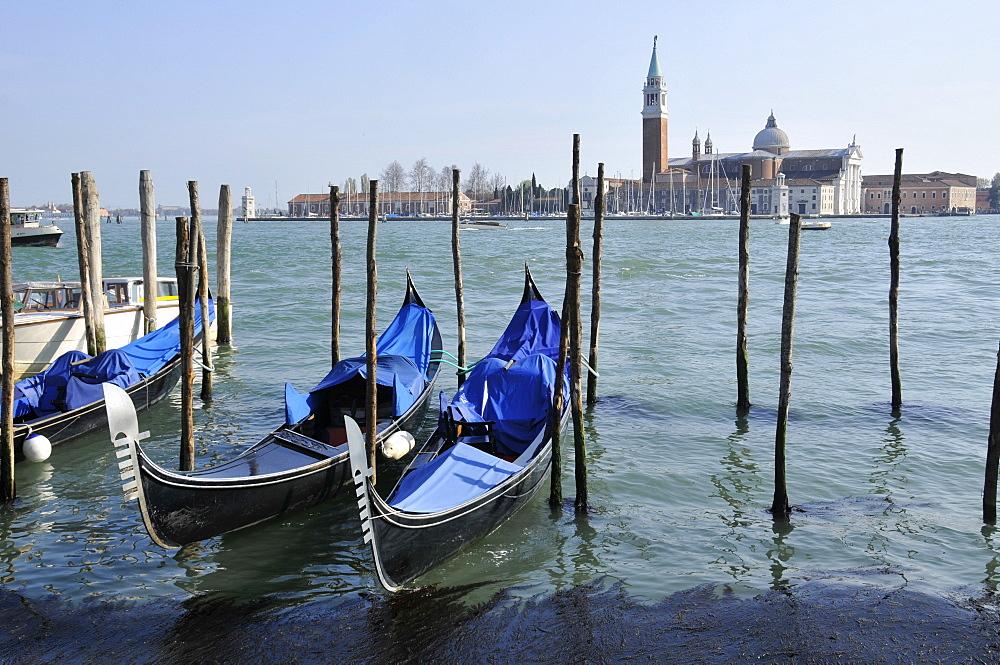 Gondolas parked in Venetian lagoon, with San Giorgio Maggiore Island in the background, Venice, UNESCO World Heritage Site, Veneto, Italy, Europe