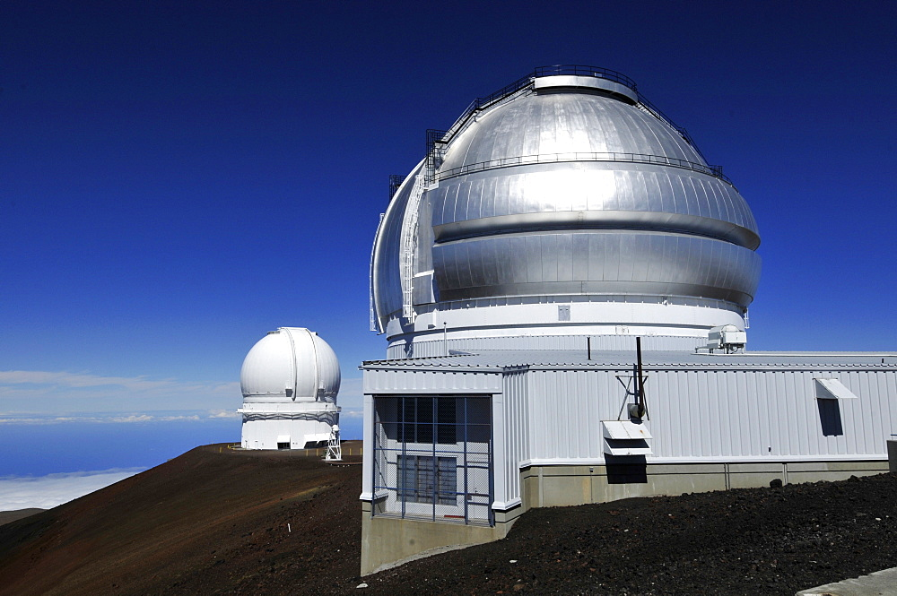 Observatories including the Gemini telescope in the foreground, Mauna Kea, Big Island, Hawaii, United States of America, Pacific