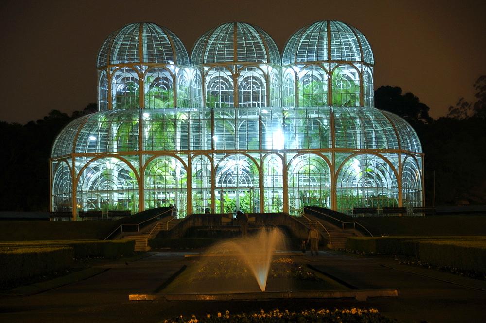 Greenhouse at the Botanical Garden of Curitiba (Jardim Botanico Fanchette Rischbieter) at night, Paranu, Brazil, South America