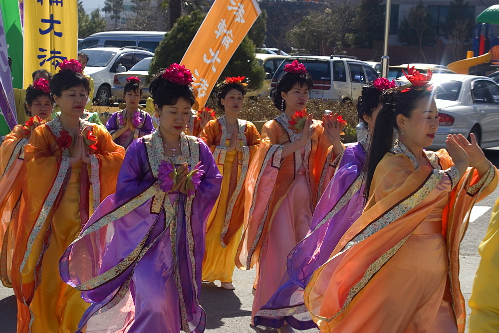Peace demonstrators walking in traditional costumes, Geoje-Do, South Korea, Asia
