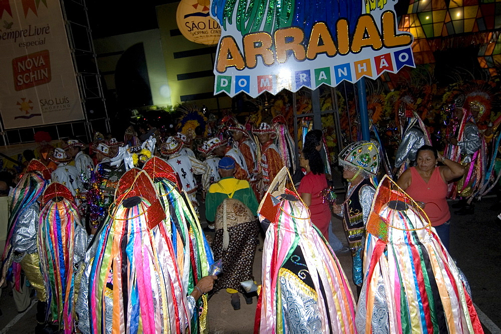 Bumba-meu-boi, traditional dance party celebrating the saints of June on the streets of Sao Luis, Maranhao, Brazil, South America