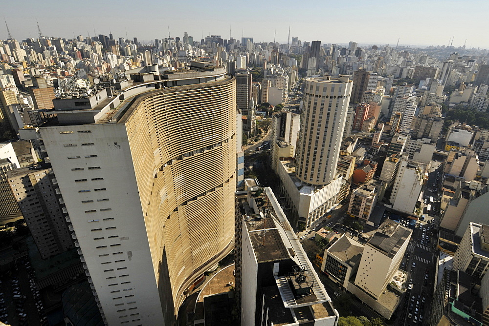 Sao Paulo, view from Italia Building rooftop with Copan Building on spot, Sao Paulo, Brazil, South America