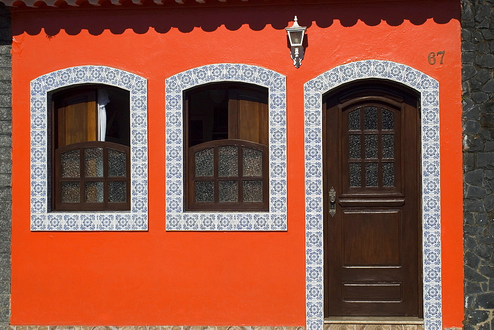 House with typical Portuguese tiles, Cananeia, Sao Paulo, Brazil, South America