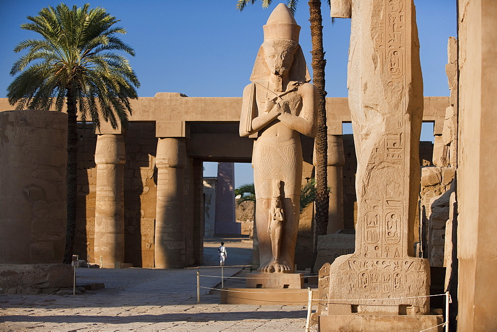 hieroglyphics, Pharao Statue, Karnak Temple Complex. Luxor, Nile Valley, Egypt, Africa