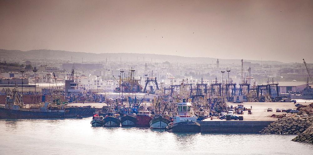 Beach, western coast, Atlantic ocean. Agadir, Agadir Port, Agadir. Morocco