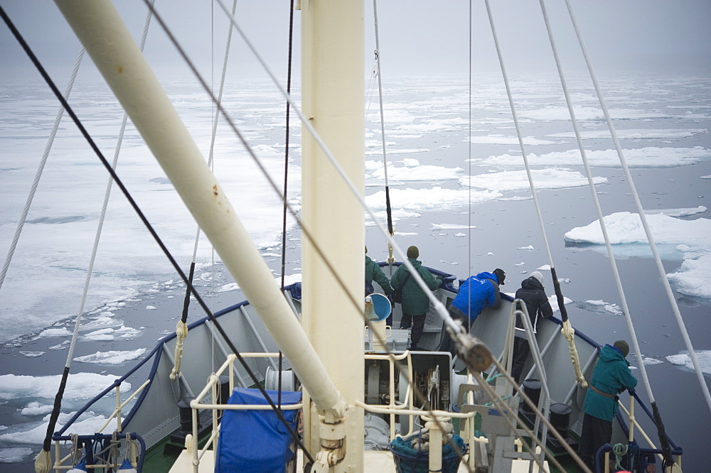 Boat, tourists, arctic cruise, ice breaker. Longyearbyen, Svalbard, Norway