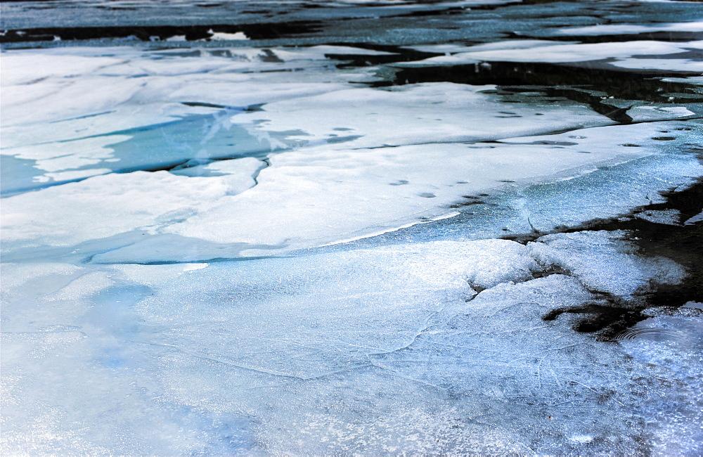 Ice sheets. Petropavlovsk, Kamchatka, Russia