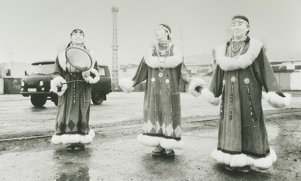 2008; Port of Provideniya. harbour side, local inuit woman sing and dance in traditional clothes. City of Provideniya (Chukotskiy Peninsular ) Russia,  Asia