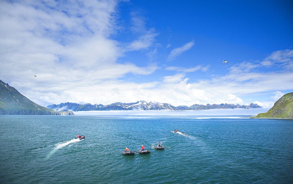 Zodiacs, expedition cruise, mountains, landscape view, exploration of Bogoslov Island (Bering Sea) Russia, Asia