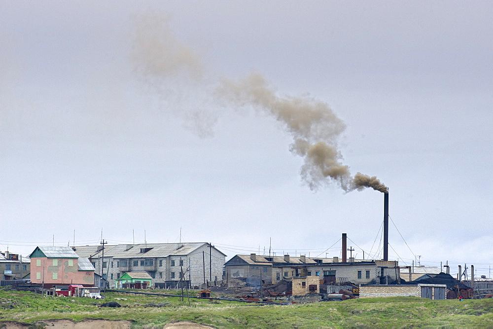 Inuit Settlement landscape of local Coal Power station, Lorino Village (Chukotskiy Peninsular) Russia, Asia.