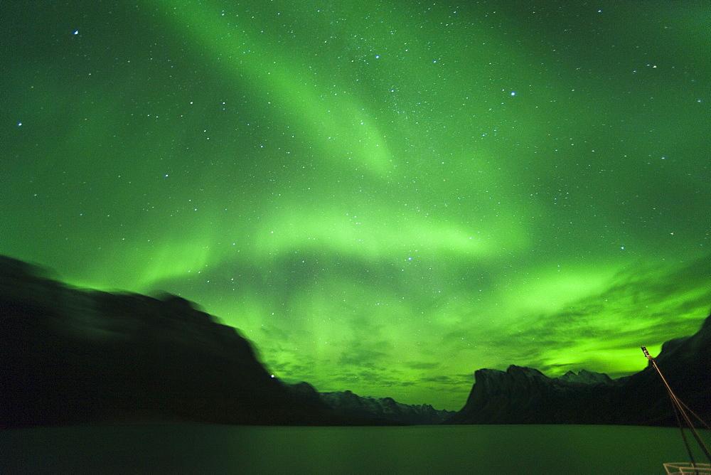 Northern lights, Aurora Borealis, on board the Clipper Adventurer. Kangerlussuaq, Sondre Stromfjord, Greenland (Denmark), North America