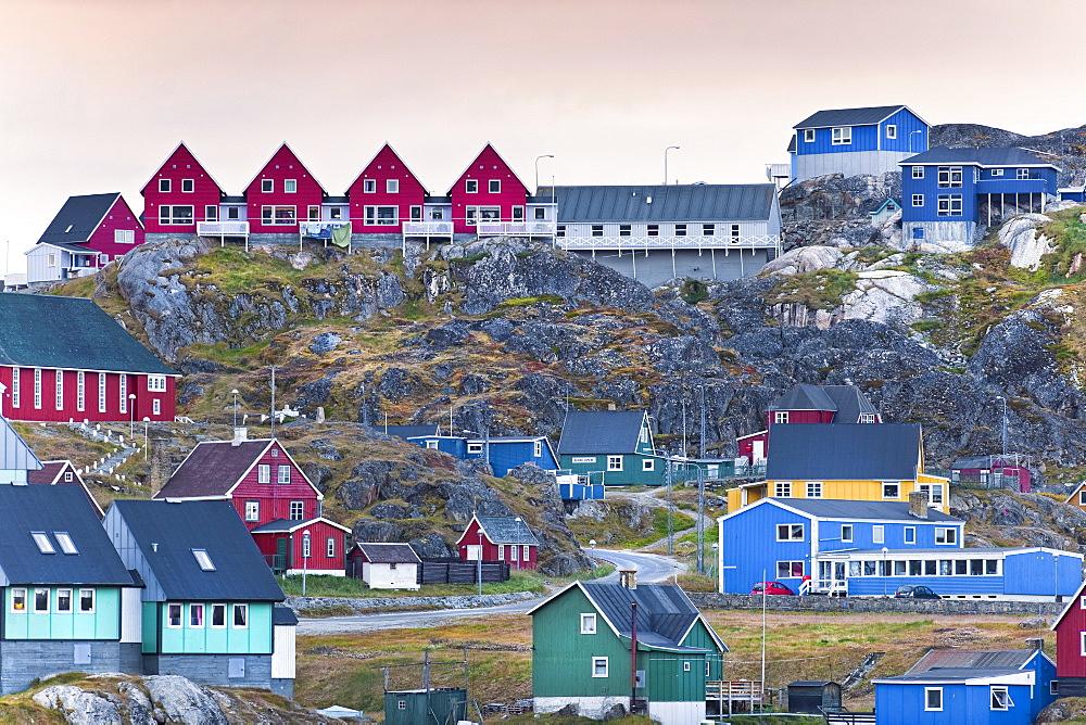 Colourful  town houses. Sisimiut, Holsteinsborg, Qeqqata Municipality, Greenland (Denmark), North America