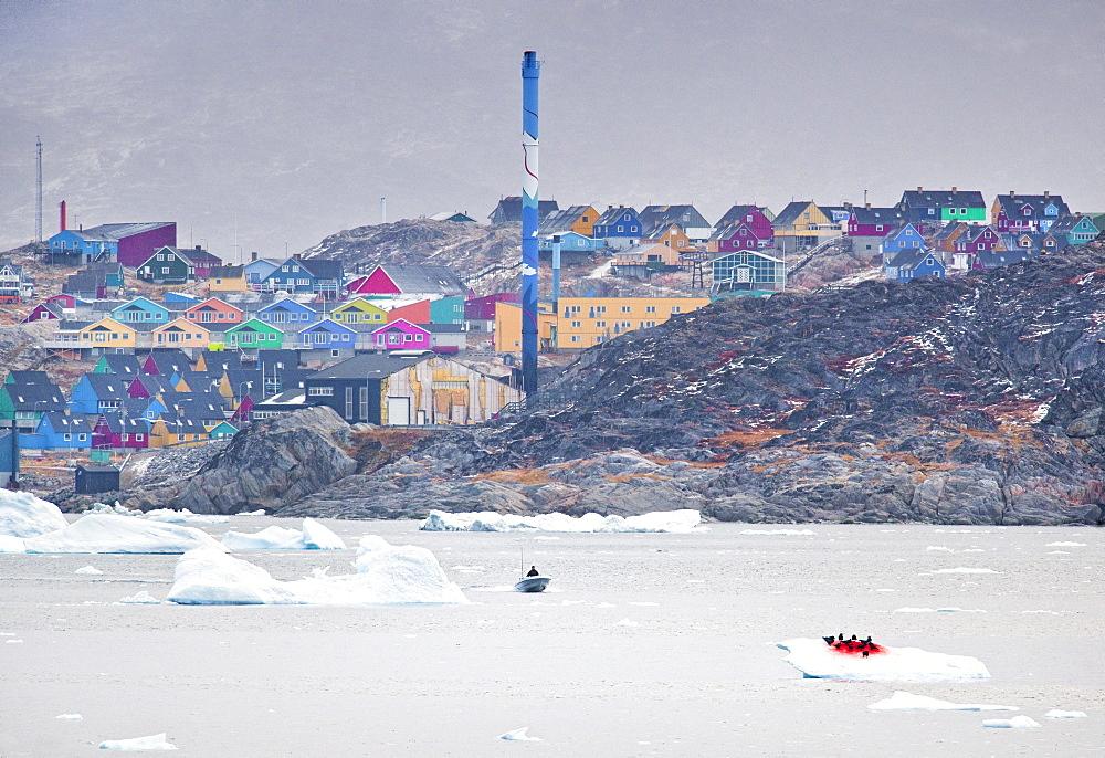 Ilulissat Harbour, with icebergs. Ilulissat, Jakobshavn, Greenland (Denmark), North America