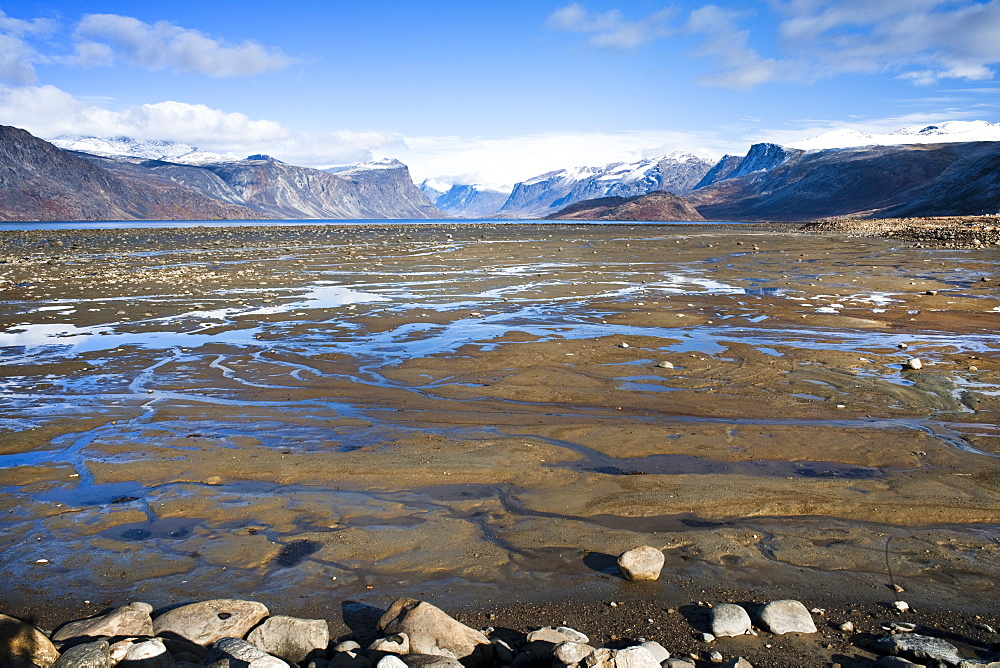 Mountain and Harbour of Pangnitung, low tide. Cape Dyer, Baffin Island, Canada, North America