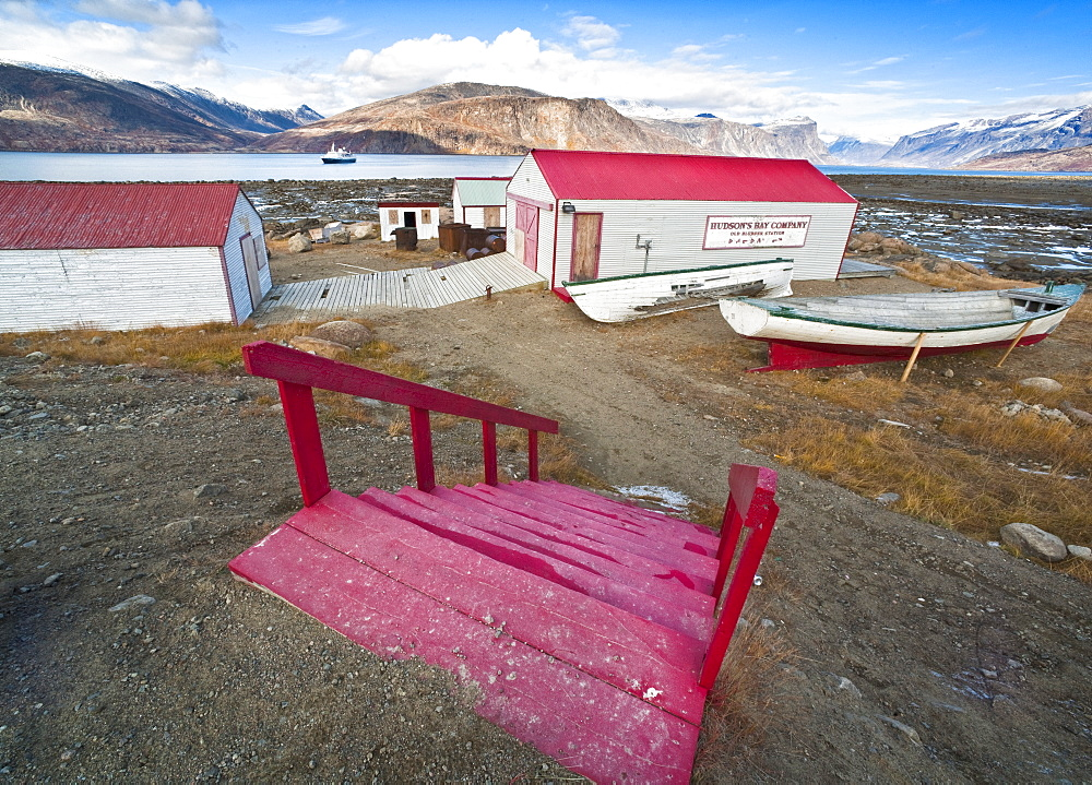Remnants of the Hudson Bay Trading Company and Town views of Pangnirtung. Cape Dyer, Baffin Island, Canada, North America