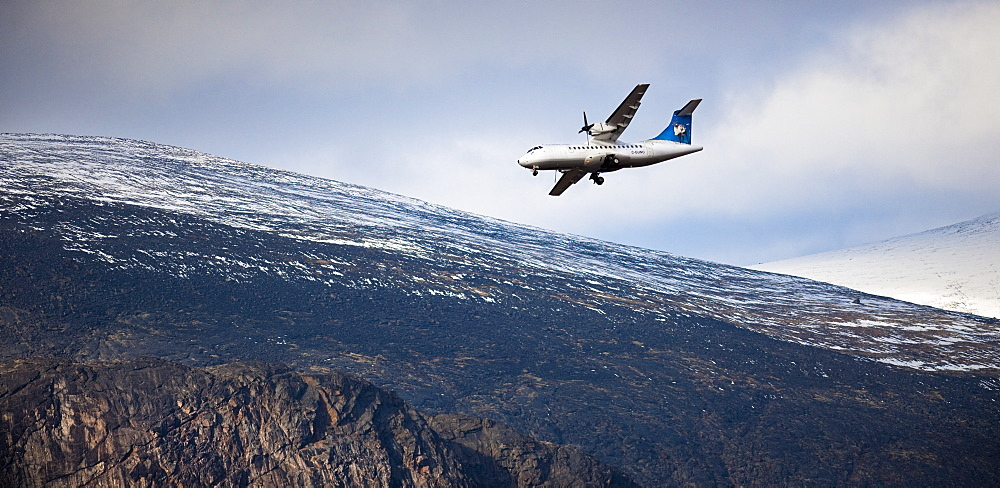 Airplane landing at Pangnirtung, Cape Dyer, Baffin Island, Canada, North America