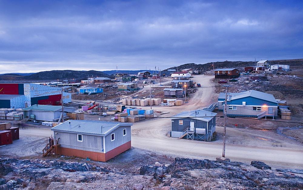 Night view of town, Cape Dorset, Baffin Island, Qikiqtaaluk, Nunavut, Canada, North America