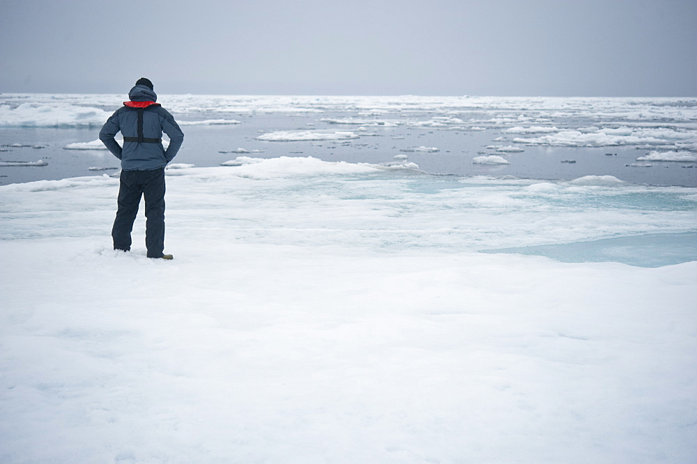Fronteir, Standing on the North Pole.Longyearbyen, Svalbard, Norway