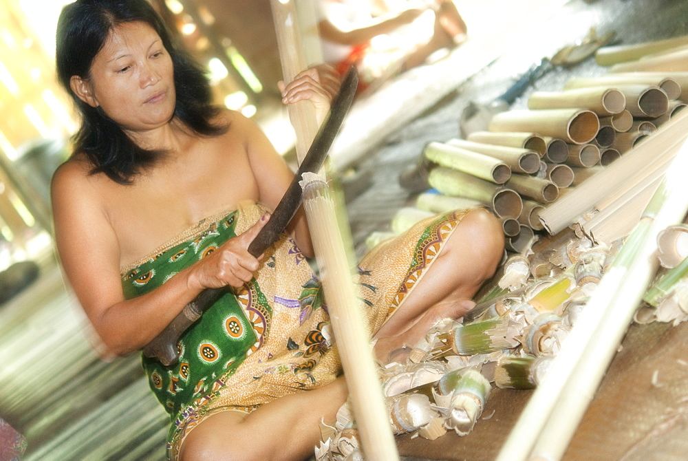 Adult female, tribe member, stripping bamboo for craft,  Iban Long House comunity. Kuching, Sarawak, Borneo, Malaysia, South-East Asia, Asia