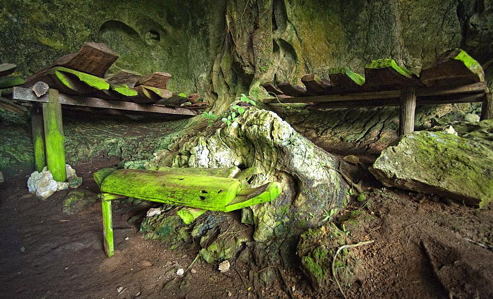 Timber Coffins in Burial Caves, Kinabatanga Valley, Sabah, Borneo, Malaysia