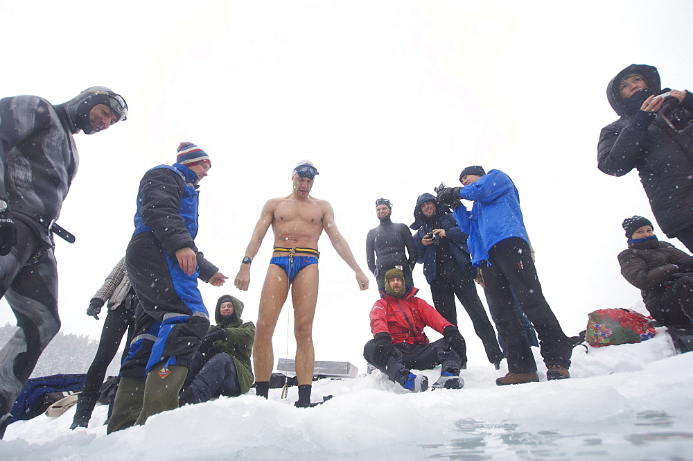 Stig Severinsen doing constant weight with no fins at the Oslo Ice Challenge 2009. Oslo, Norway