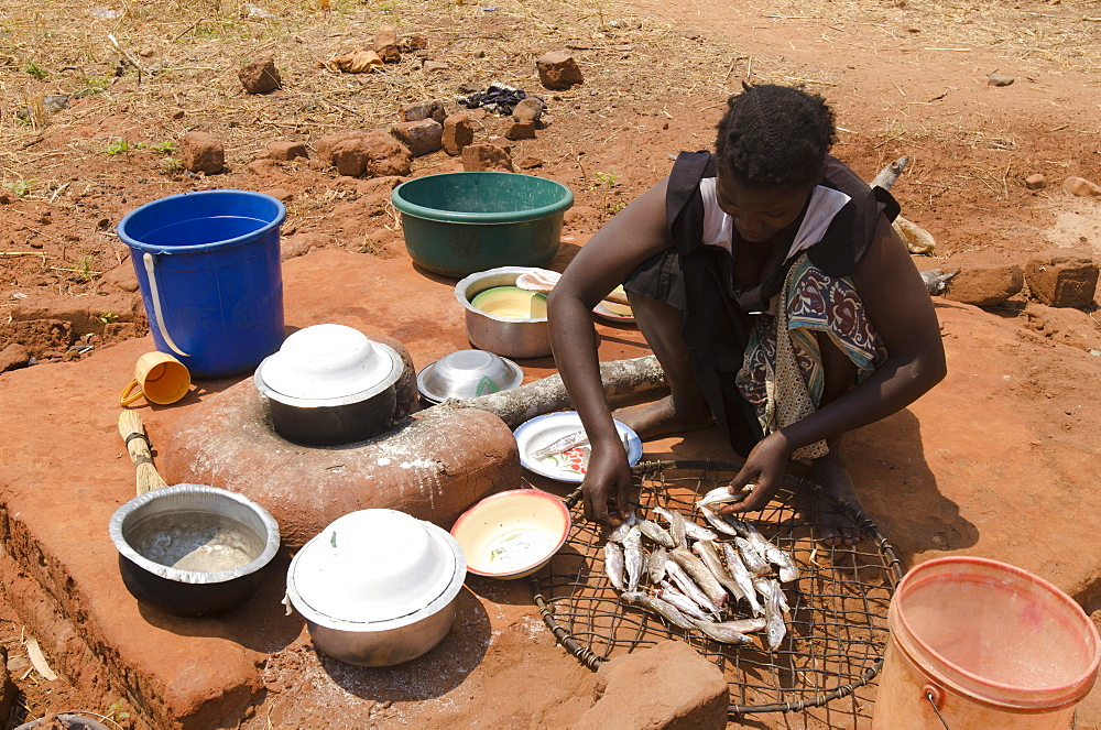 Lady preparing fish for meal, Talpia, Zambia, Africa