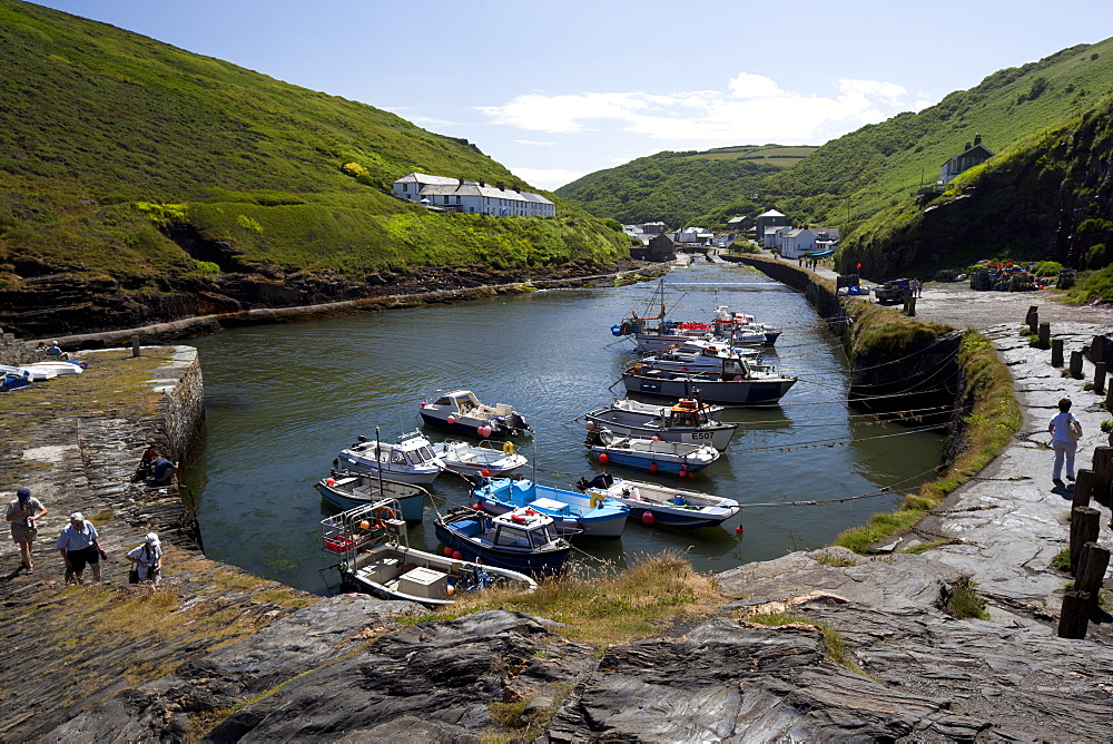 Boats in Boscastle Harbour, Boscastle, Cornwall, England, United Kingdom, Europe