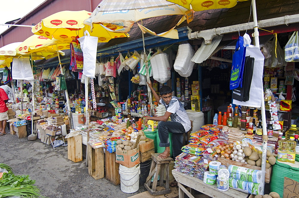Grocery stalls in Stabroek Market, Georgetown, Guyana, South America