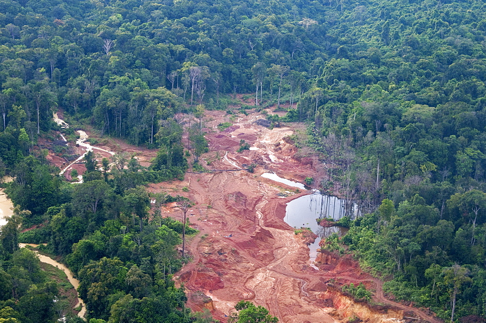 Destruction of rainforest caused by gold mining, Guyana, South America