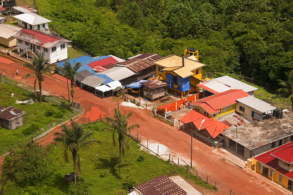 Aerial view of the mining town of Mahdia, Guyana, South America