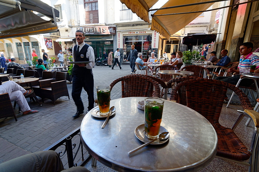 Mint tea served at the Cafe Tingis in the Petit Socco of the Medina or old city of Tangier, Morocco, North Africa, Africa - 971-130