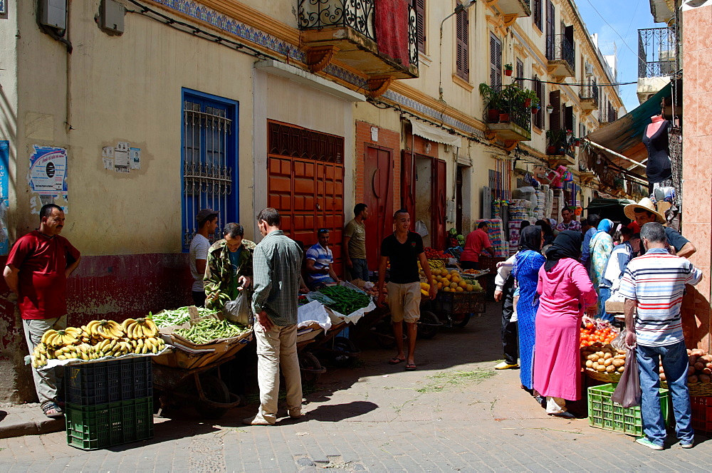 Street market in the Medina or old city of Tangier, Morocco, North Africa, Africa - 971-131