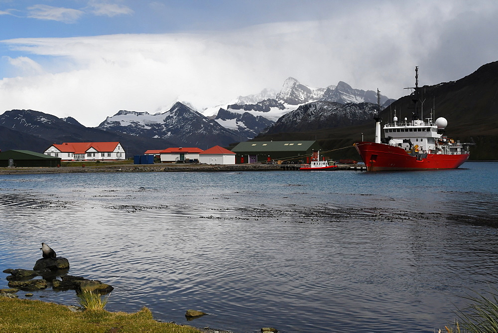 King Edward Point research station with fisheries patrol boat Pharos alongside at the jetty, South Georgia, Polar Regions