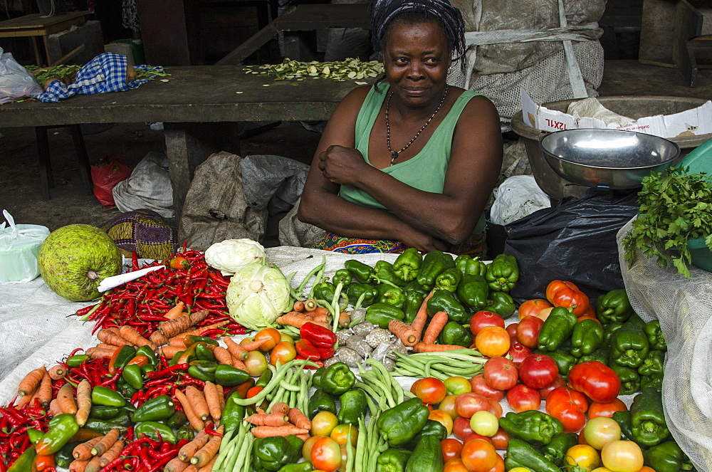 Vegetables on sale in the market of Sao Tome