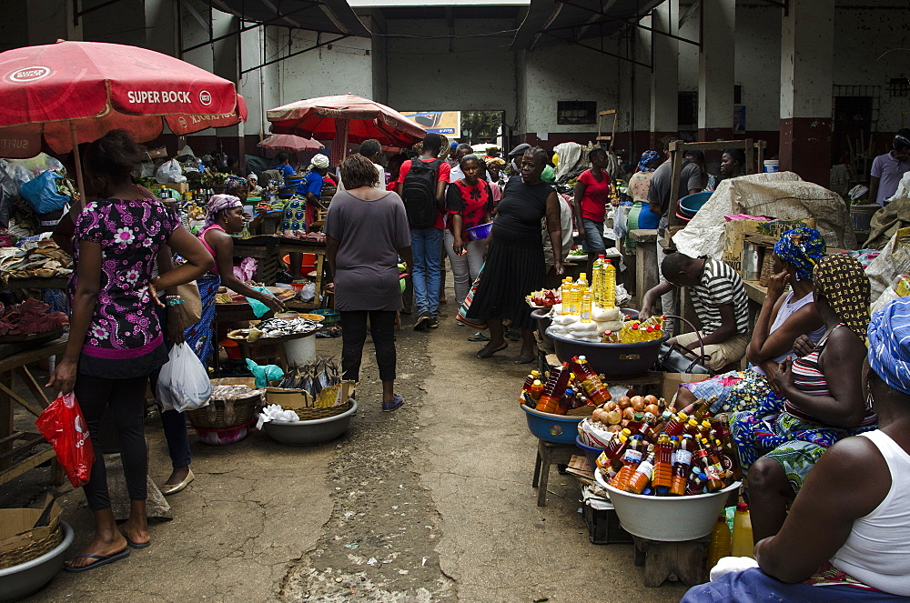 Municipal market in the city of Sao Tome, Sao Tome and Principe, Africa - 971-218